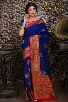 Tussar Silk Saree in Midnight Blue and Red Phulkari Saree, Silk Sarees, Saris, Banaras Sarees, Ethnic Sarees, Indian Sarees, Indian Dresses, Indian Outfits, Saree Dress