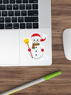'Snowman with green and red scarf holding yellow broom' Sticker by duyvolap Red Scarves, Sticker Design, Snowman, Hold On, Stickers, Yellow, Green, Prints, Naruto Sad