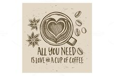 Coffee quote poster. Vintage Design. $5.00