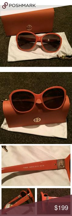Coming Soon Tory Burch Sunglasses Gorgeous Tory Burch Sunglasses?  Orange in color  Normal signs of wear / no scratches on the lenses that I can find.?  Come with dust bag & orange Tory Burch case  (logo on case has a few scratches from being put into my purse)?  Purchased online from the Tory Burch website.  Price will be $150 Tory Burch Accessories Sunglasses