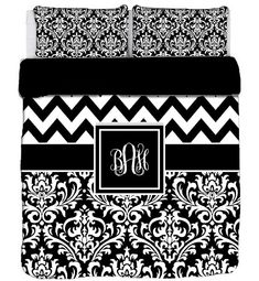 Custom Personalized Chevron  Damask Duvet Cover- Available TWIN, F-Queen, King size -Choose from Bedding Swatch Colors on Etsy, $179.00