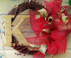 Custom Monogrammed Holiday Christmas Wreath by W0220703 on Etsy, $55.00