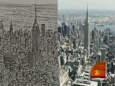 Artist Stephen Wiltshire's detailed drawing of NYC from memory is compared with real images of the Big Apple
