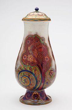 Galileo Chini (1873-1956), Glazed Decorated Ceramic Covered Jar.