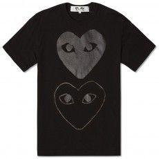 Comme des Garcons Play Double Heart Contrast Tee (Black & Black)