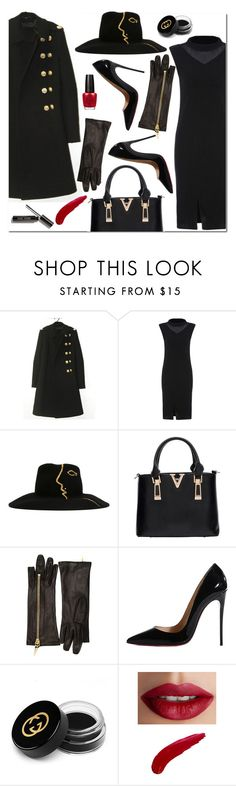 """Untitled #1712"" by mirisproleca ❤ liked on Polyvore featuring Céline Robert, Giuseppe Zanotti, Christian Louboutin, Gucci, TheBalm, OPI, black, blackandbrown and blackoutfit"