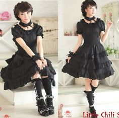 81120-Punk-Sweet-Gothic-Lolita-Slim-Corset-short-sleeve-Cake-Dress-Black-S-L