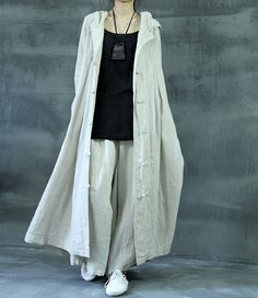 Hooded Linen Jacket Long Button Up Kaftan Dress Loose Witch Cape Cloak Magic Outfit WJ142