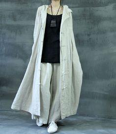 Hooded Linen Jacket Long Button Up Kaftan Dress Loose Witch Cape Cloak Magic Outfit WJ142