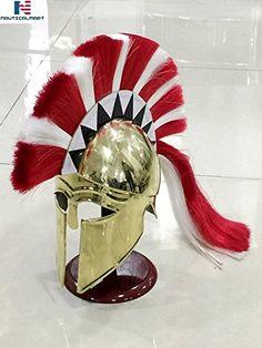 Medieval Epic Wearable Greek Corinthian Armor Helmet W/ Red & White Plume Crusader Helmet, Helmet Armor, Knights Helmet, Viking Helmet, Sparta Helmet, Roman Kings, Greek Helmet, Roman Helmet, Corinthian Helmet