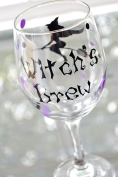Witch's Brew wine glass Halloween by AnchorAvenueDesigns on Etsy, $9.00 #Halloween #witchsbrew