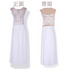 Ladies Lace Sleeveless Chiffon Embroidery Long Formal Party Ball Boho Maxi Dress   eBay