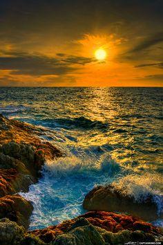 """""""Waves breaking over Promthep Cape, Phuket, Thailand"""" by Kim Seng (Captain Kimo) on flickr"""