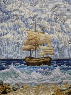gorgeous ship at sea quilt, from the matin lumineux blog