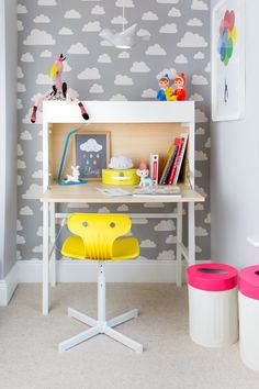 Playful kids study area. Inlove with the cloud wallpaper + the neon touches