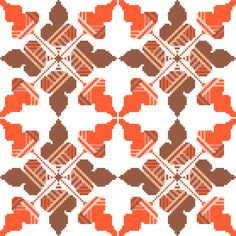 When embroidered in groups, this cross stitch pattern of autumn coloured oak leaves assumes a completely different appearance! The leaves themselves look almost like squiggles and the hatched pattern takes a strongly structured geometric form. Perfect for larger projects such as table cloths and cushion covers! Design by CrossStitchtheLine
