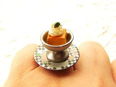 Kawaii Food Ring Cute Japanese  Custard Pudding by SouZouCreations, $10.00