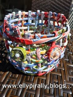 Recycled Paper Basket tutorial