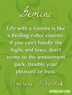 Life with a #Gemini is like a thrilling roller coaster. If you can't handle the highs and lows, don't come to the amusement park. Double your pleasure or bust. -- Sherene Schostak | Astrology.com #horoscope #astrology