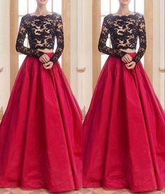 Long Sleeve Evening Dress,Formal Evening Gowns F1076