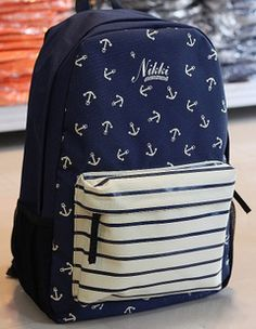 Cute Blue Anchor Backpack, really just pinning this cause my name is on it :p