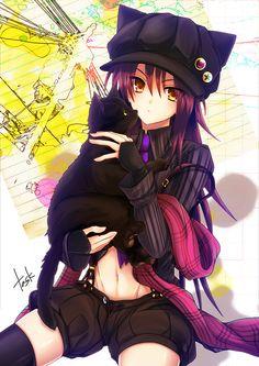 anime girl and cat #myanimelife http://myanimelife.com