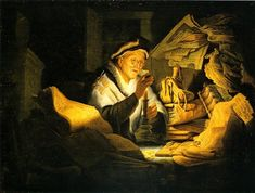 Rembrandt illustrates the parable of the rich fool, as told in Luke 12. At night a rich man studies one of his golden coins. <br /> <br />In the early 17th century a stack of books was often used as a symbol of vanity. The Hebrew letters suggest a biblical setting. <br /> <br />The usual interpretation of the parable is that there is no point in spending a life gathering wealth. After all, onced you die money is of no use. It might even get into the...