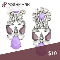 Purple Crystal brand new earring pairs This is an nickel free and lead free  earring. This earring is made from 18K metal and glass crystal .. T&J Designs Jewelry Earrings