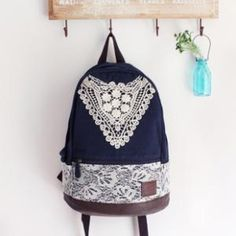 Nice Hollow Blue Lace Backpack