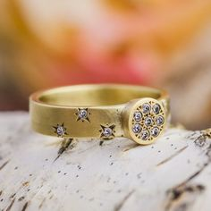 14K Yellow Gold Ring with Natural Brilliant Cut Diamonds, Fashion Ring, Star shapes, Diamond Gold Ring, Handmade Jewelry