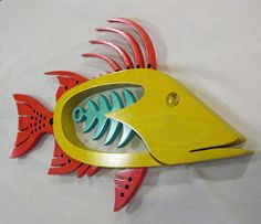 Hogfish en rojo por TheWoodenFishMarket en Etsy