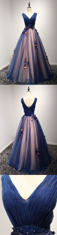 Long Prom Dress, Tulle Prom Dress, Applique Dress, V-Neck Prom Dress, Elegant Prom Dress, LB0220