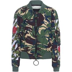 OFF-WHITE C/O VIRGIL ABLOH Diag Roses Bomber Camou // Embroidered... (5.935 BRL) ❤ liked on Polyvore featuring outerwear, jackets, off white jacket, zip jacket, flower bomber jacket, zipper jacket and flight jacket