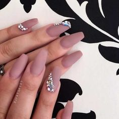 Matte Neutral Coffin Nails with Rhinestones