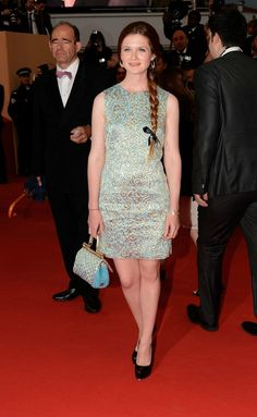 Oh lookie who we have here: Bonnie Wright (Ginny in Harry Potter to Robert Pattinson's Cedric Diggory), at his Cosmopolis screening (Cannes).