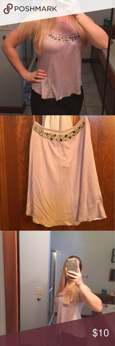 """Glam Racerback tank Mauve """"bedazzled"""" tank. Size XS. Tag removed by store (sample sale) I believe may be Expressed or H & M? Back is sheer Tops Tank Tops"""