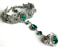 Swarovski Crystal Jewelry collection by Le Boudoir Noir Jewelry    This divine slave bracelet exudes Victorian era elegance and highlights a