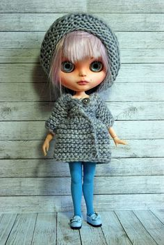 Blythe Doll Knitted Sweater with Slouchy Hat by AuntieShrews