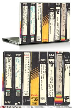 This notebook skin is so cool! When I was younger, we used to record tv onto VHS tapes just like these - we had hundreds and they were all numbered and everything.