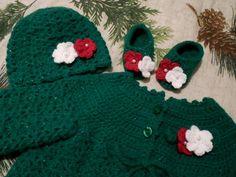 Crocheted baby girl's sweater green baby sweater Kelly green sweater green holiday baby Christmas baby posies TillieLuvsTreasures