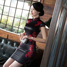 New Winter Chinese Traditional Dress Silk Satin Cheongsam Print Stand Collar Cap Sleeve Qipao Dresses Short Style Dress