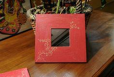 Espejo 26x26cm rojo pintado a mano - hecho a mano por Eneita en DaWanda