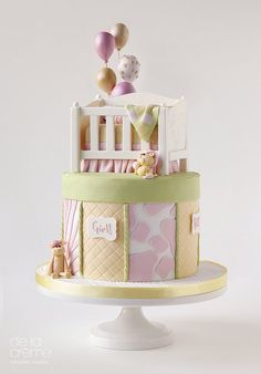 Little Crib Gender-Reveal Cake