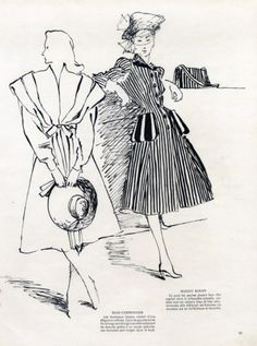 Mad Carpentier & Maggy Rouff 1945 René Gruau