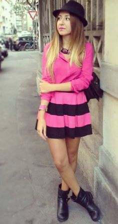 Lovely black and pink style! #mfw #streetstyle