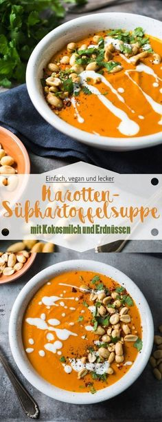 Karotten-Süßkartoffelsuppe mit Kokosmilch und Erdnüssen - Ina Isst This delicious and vegan carrot and sweet potato soup with coconut milk and peanuts is ready in no time and perfect for the end Easy Soup Recipes, Diet Recipes, Vegetarian Recipes, Healthy Recipes, Cake Recipes, Feta, Coconut Milk Soup, Vegetable Soup Healthy, Quick And Easy Soup