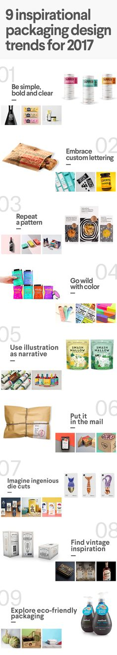 9 inspirational packaging design trends for 2017. Learn packaging techniques including minimalism, creative die-cuts, custom lettering, patterns, and more. #packaging #trends #2017