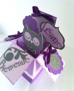 carte félicitations naissance pop-up hiboux chouette fille gris parme violet blanc faire part original owl pop-up card - baby card