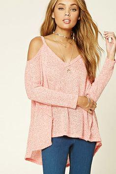 Marled Knit Open-Shoulder Top