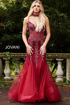 d108e70959a Burgundy Embellished Mermaid Dress with Choker 56032 V Neck Prom Dresses